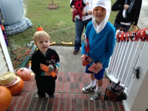 My first trick or treaters!  My pastor's precious boys, Finn & Gideon aka. a Ninja & Finn the Human!