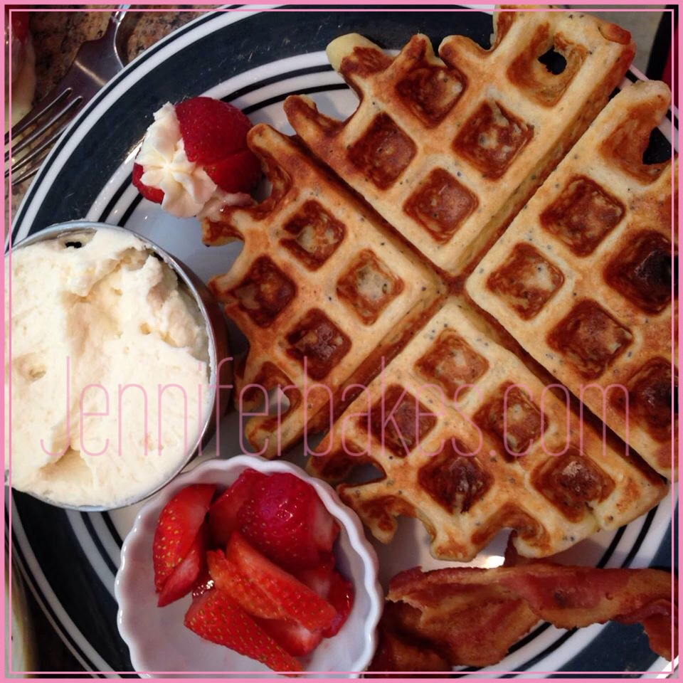 A perfect plate. Waffle, Bacon, Strawberries & Mascarpone Whipped Cream. Yum!